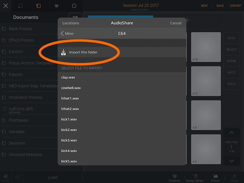 Any way to import whole folders from iCloud Drive or Audioshare